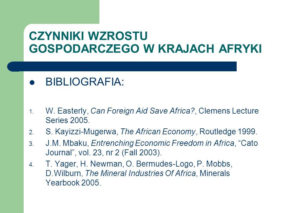 CZYNNIKI WZROSTU GOSPODARCZEGO W KRAJACH AFRYKI BIBLIOGRAFIA: 1. W. Easterly, Can Foreign Aid Save Africa?, Clemens Lecture Series 2005. 2. S. Kayizzi