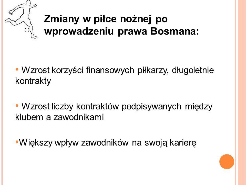 Zmiany w piłce nożnej po wprowadzeniu prawa Bosmana c.d.