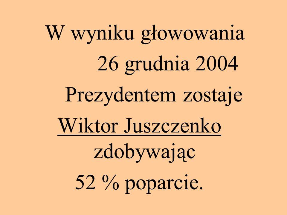 W wyniku głowowania 26 grudnia 2004 Prezydentem zostaje Wiktor Juszczenko zdobywając 52 % poparcie.