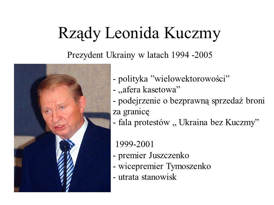 Tymoszenko i Juszczenko na czele opozycji 2001 -Juszczenko tworzy partię Nasza Ukraina - Powstaje Blok Julii Tymoszenko 2002 Wybory parlamentarne -Nasza Ukraina 24% -Blok Julii Tymoszenko 7% - brak większości w parlamecie