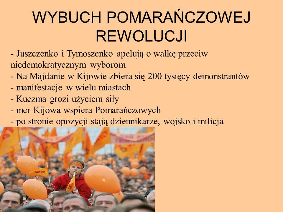 WYBUCH POMARAŃCZOWEJ REWOLUCJI - Juszczenko i Tymoszenko apelują o walkę przeciw niedemokratycznym wyborom - Na Majdanie w Kijowie zbiera się 200 tysi