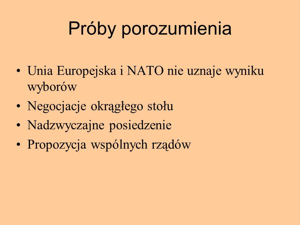 Próby porozumienia Unia Europejska i NATO nie uznaje wyniku wyborów Negocjacje okrągłego stołu Nadzwyczajne posiedzenie Propozycja wspólnych rządów