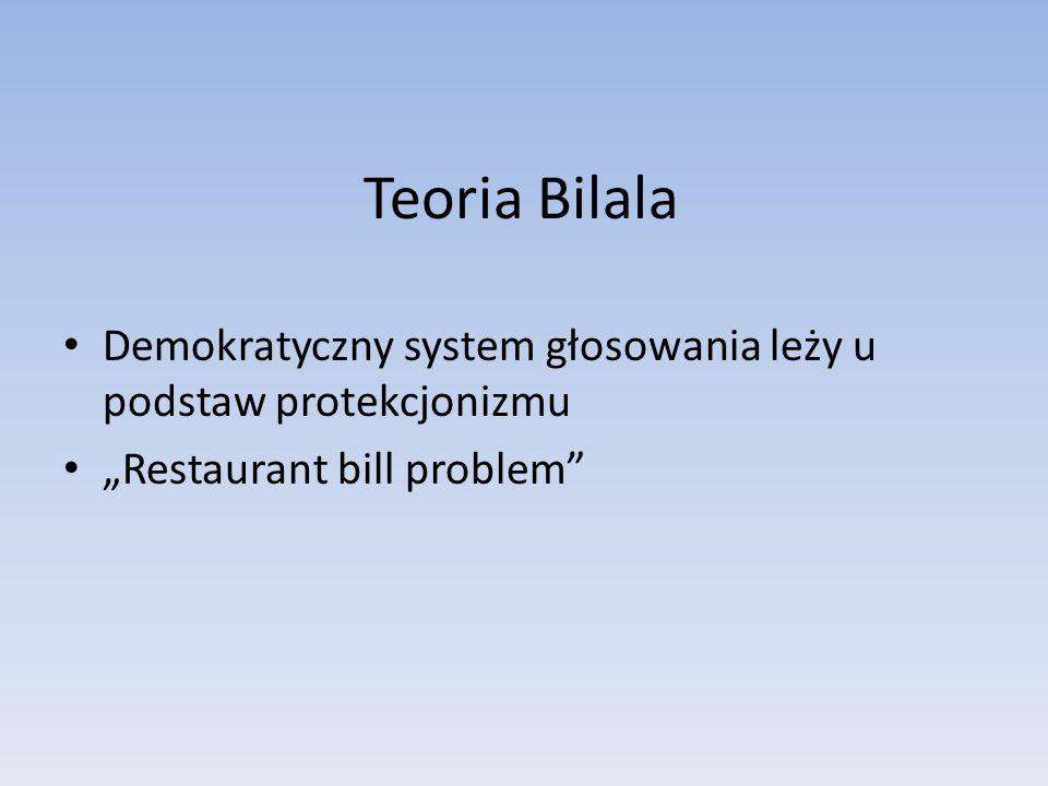 Teoria Bilala Demokratyczny system głosowania leży u podstaw protekcjonizmu Restaurant bill problem