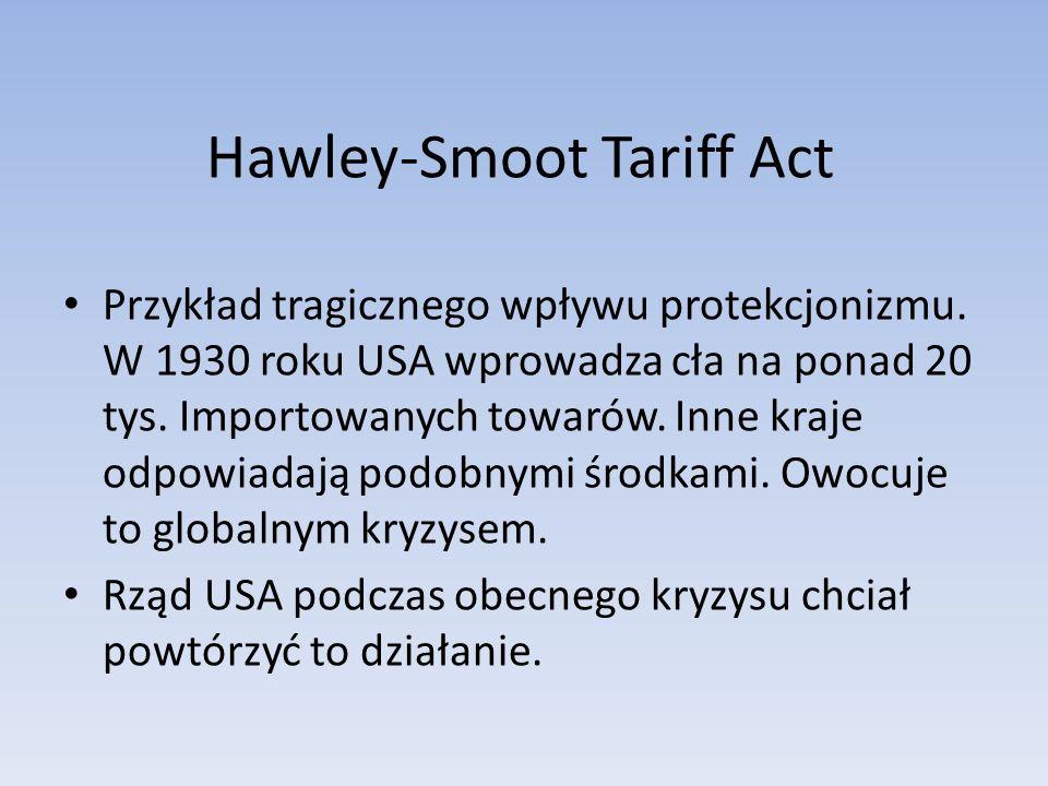 Hawley-Smoot Tariff Act Przykład tragicznego wpływu protekcjonizmu.