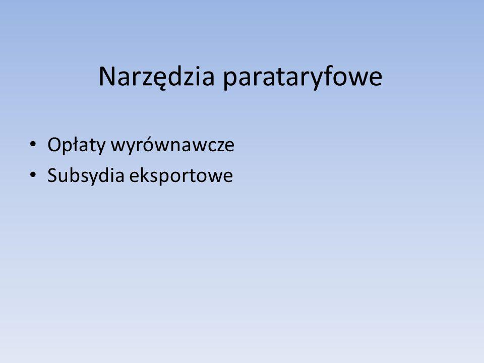 Narzędzia parataryfowe Opłaty wyrównawcze Subsydia eksportowe