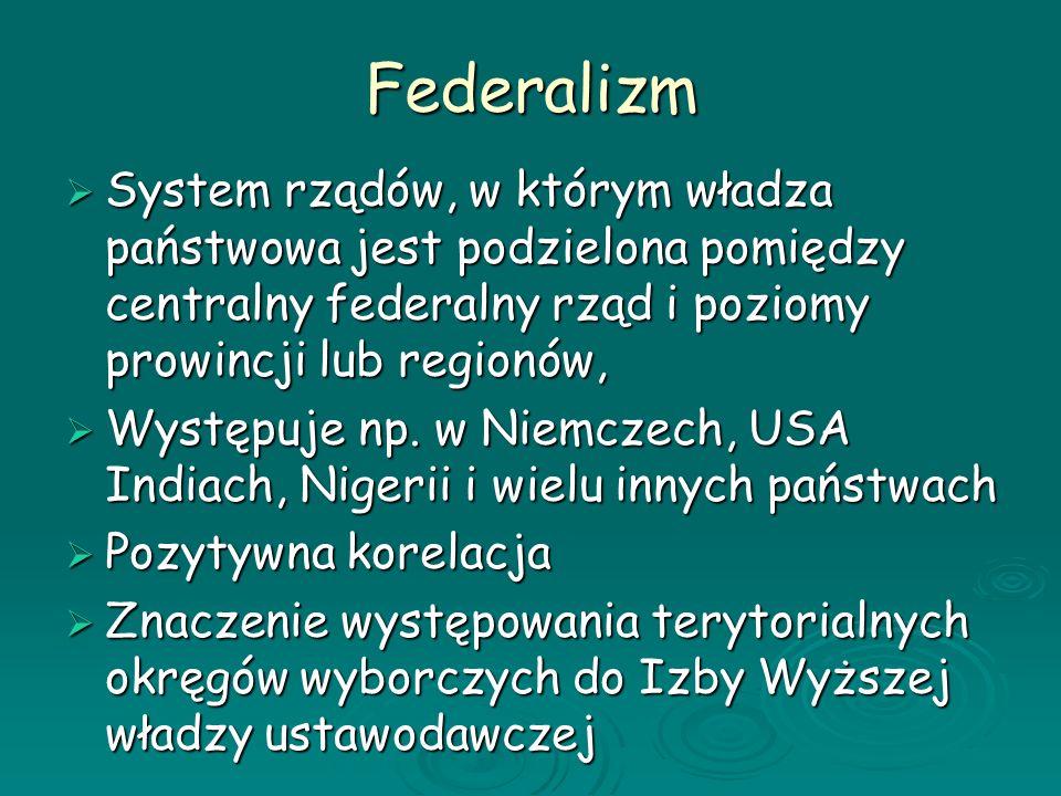 Federalizm System rządów, w którym władza państwowa jest podzielona pomiędzy centralny federalny rząd i poziomy prowincji lub regionów, System rządów,