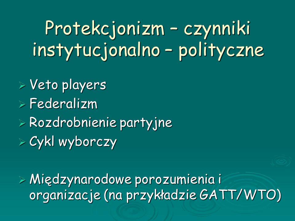Protekcjonizm – czynniki instytucjonalno – polityczne Veto players Veto players Federalizm Federalizm Rozdrobnienie partyjne Rozdrobnienie partyjne Cy