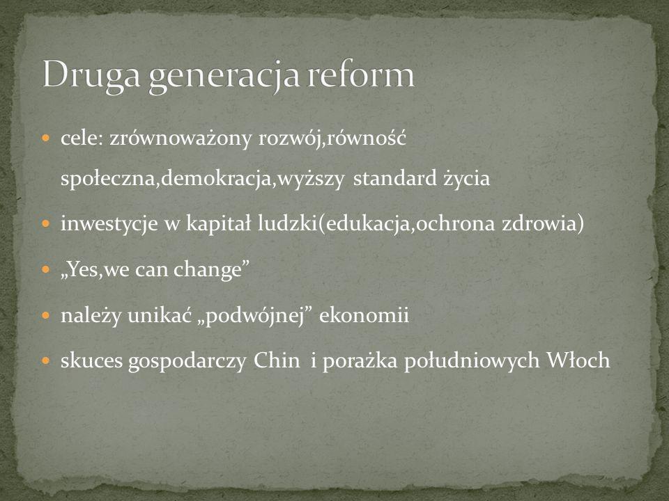 cele: zrównoważony rozwój,równość społeczna,demokracja,wyższy standard życia inwestycje w kapitał ludzki(edukacja,ochrona zdrowia) Yes,we can change n