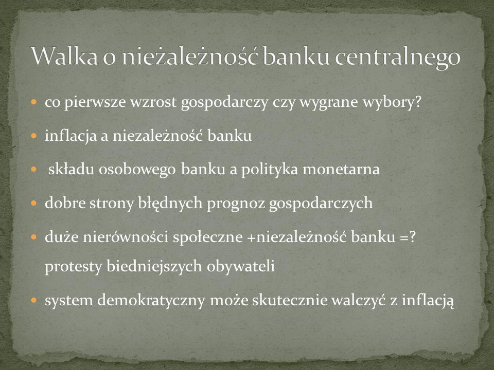 co pierwsze wzrost gospodarczy czy wygrane wybory? inflacja a niezależność banku składu osobowego banku a polityka monetarna dobre strony błędnych pro