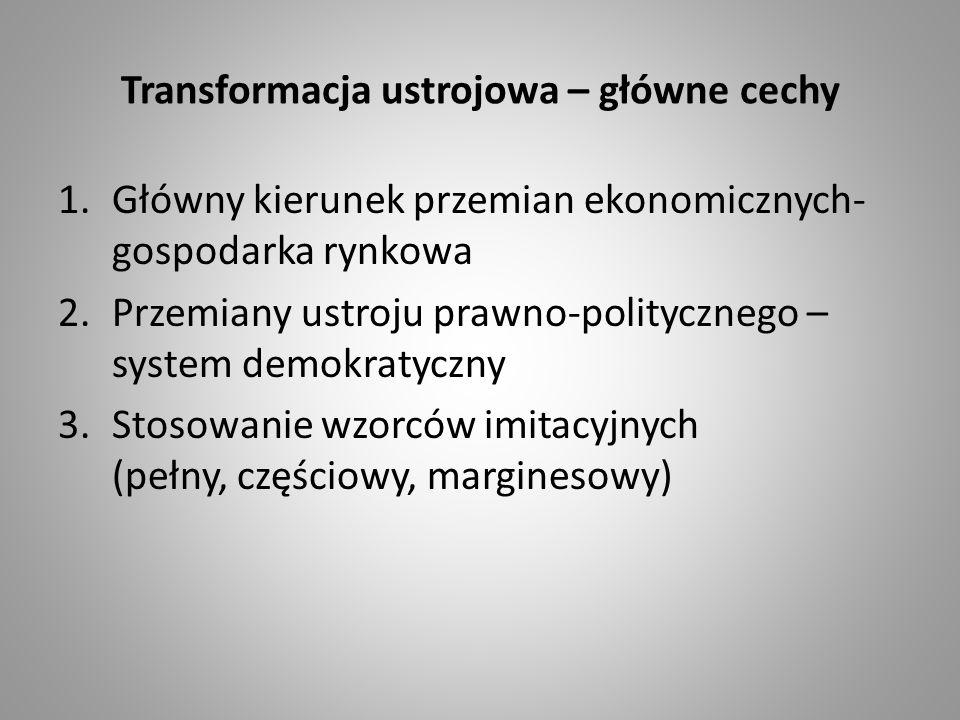 Transformacja ustrojowa – główne cechy 1.Główny kierunek przemian ekonomicznych- gospodarka rynkowa 2.Przemiany ustroju prawno-politycznego – system d