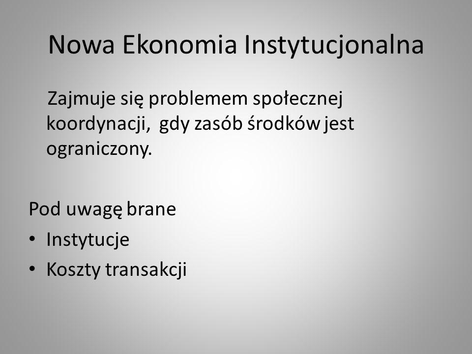 Nowa Ekonomia Instytucjonalna Zajmuje się problemem społecznej koordynacji, gdy zasób środków jest ograniczony. Pod uwagę brane Instytucje Koszty tran