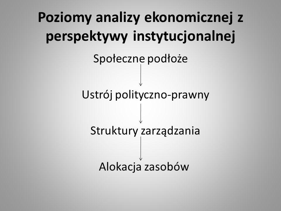 Poziomy analizy ekonomicznej z perspektywy instytucjonalnej Społeczne podłoże Ustrój polityczno-prawny Struktury zarządzania Alokacja zasobów