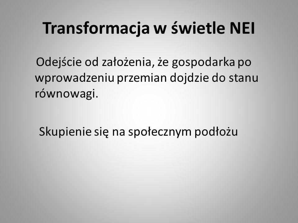 Transformacja w świetle NEI Odejście od założenia, że gospodarka po wprowadzeniu przemian dojdzie do stanu równowagi. Skupienie się na społecznym podł