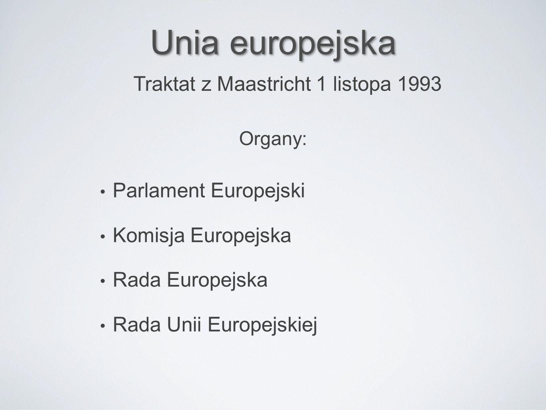 Unia europejska Parlament Europejski Komisja Europejska Rada Europejska Rada Unii Europejskiej Traktat z Maastricht 1 listopa 1993 Organy: