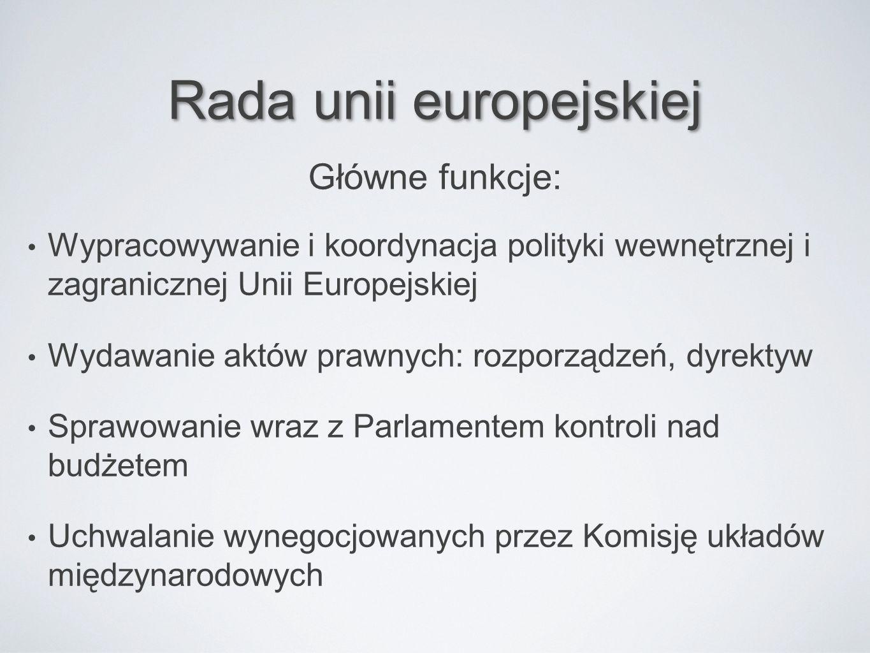 Rada unii europejskiej Wypracowywanie i koordynacja polityki wewnętrznej i zagranicznej Unii Europejskiej Wydawanie aktów prawnych: rozporządzeń, dyre