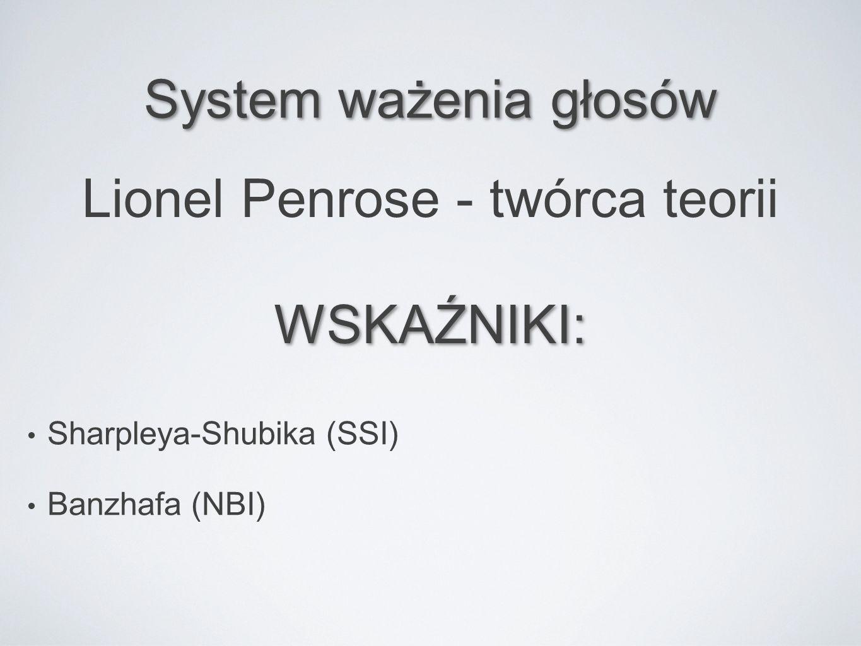 System ważenia głosów Lionel Penrose - twórca teorii WSKAŹNIKI: Sharpleya-Shubika (SSI) Banzhafa (NBI)