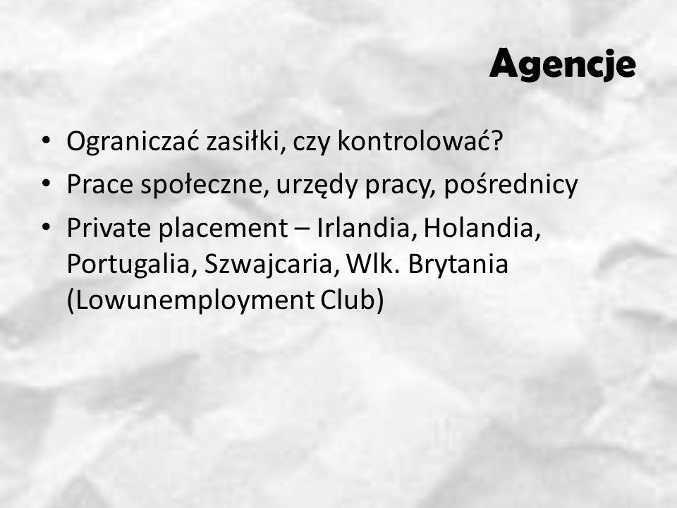 Agencje Ograniczać zasiłki, czy kontrolować? Prace społeczne, urzędy pracy, pośrednicy Private placement – Irlandia, Holandia, Portugalia, Szwajcaria,