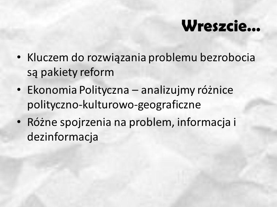 Wreszcie… Kluczem do rozwiązania problemu bezrobocia są pakiety reform Ekonomia Polityczna – analizujmy różnice polityczno-kulturowo-geograficzne Różne spojrzenia na problem, informacja i dezinformacja