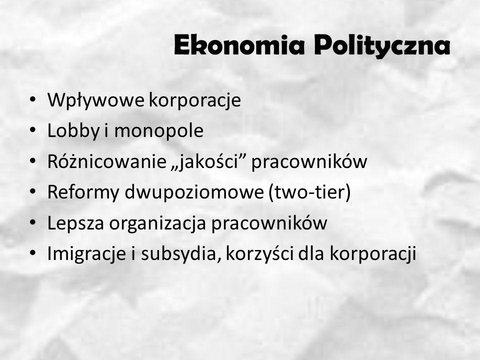 Ekonomia Polityczna Wpływowe korporacje Lobby i monopole Różnicowanie jakości pracowników Reformy dwupoziomowe (two-tier) Lepsza organizacja pracowników Imigracje i subsydia, korzyści dla korporacji