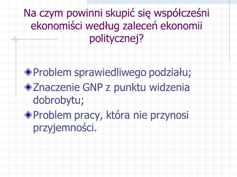 Na czym powinni skupić się współcześni ekonomiści według zaleceń ekonomii politycznej.