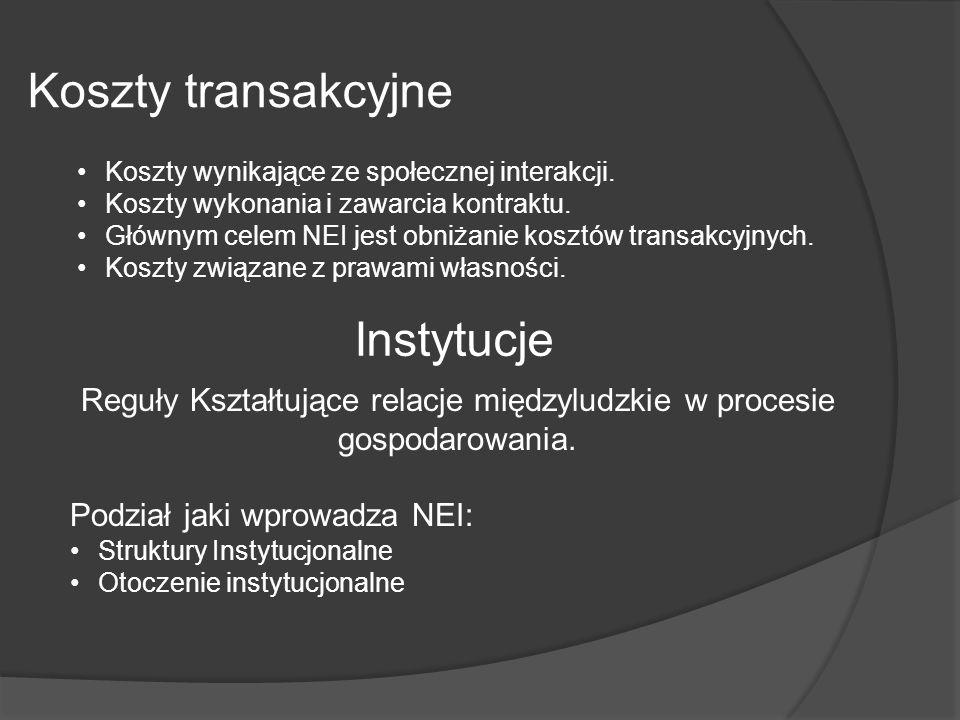 Koszty transakcyjne Koszty wynikające ze społecznej interakcji. Koszty wykonania i zawarcia kontraktu. Głównym celem NEI jest obniżanie kosztów transa