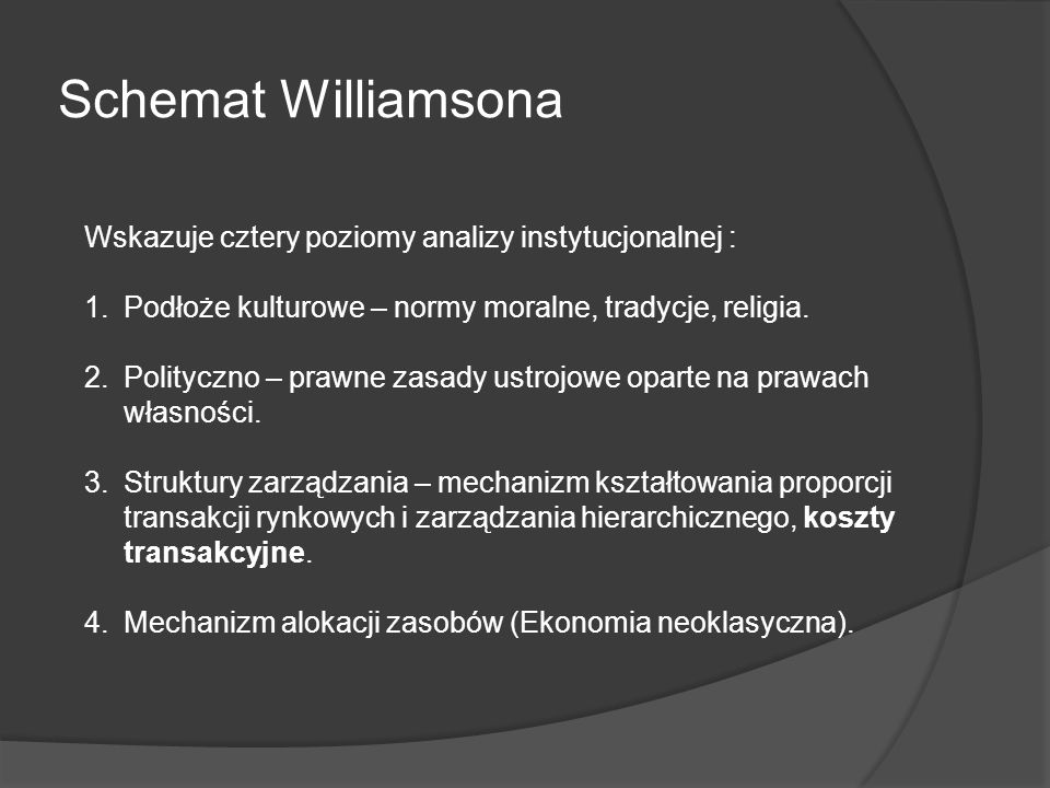Schemat Williamsona Wskazuje cztery poziomy analizy instytucjonalnej : 1.Podłoże kulturowe – normy moralne, tradycje, religia. 2.Polityczno – prawne z