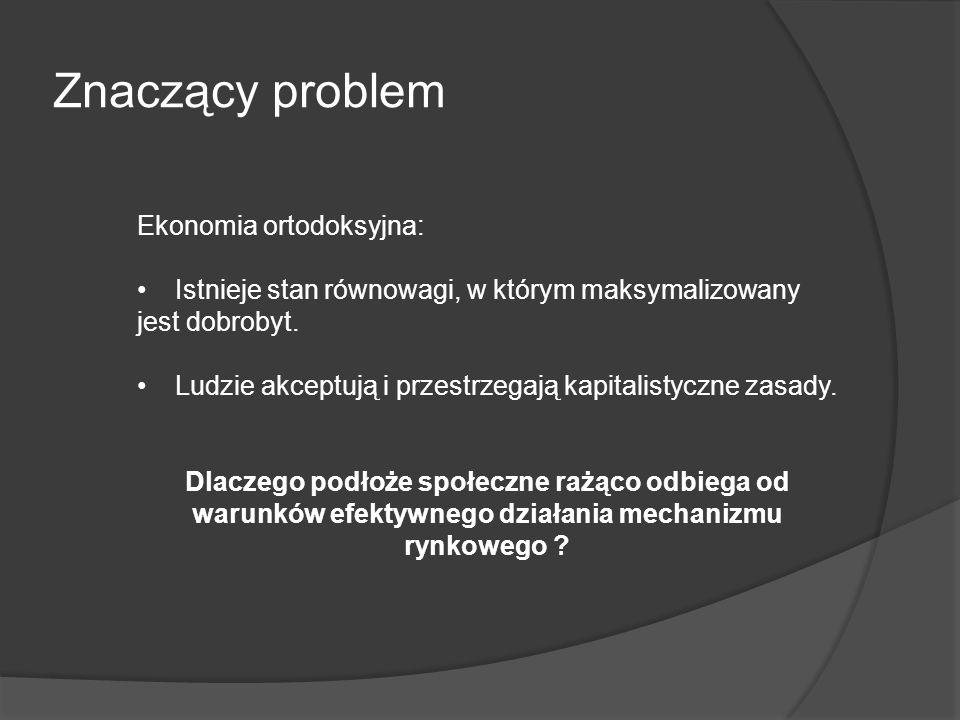 Znaczący problem Ekonomia ortodoksyjna: Istnieje stan równowagi, w którym maksymalizowany jest dobrobyt. Ludzie akceptują i przestrzegają kapitalistyc
