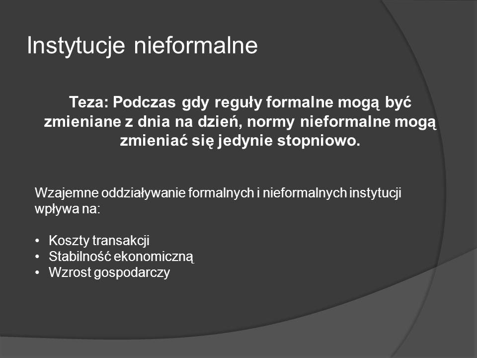 Instytucje nieformalne Teza: Podczas gdy reguły formalne mogą być zmieniane z dnia na dzień, normy nieformalne mogą zmieniać się jedynie stopniowo. Wz