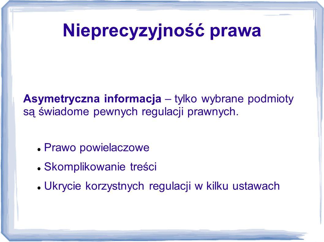 Nieprecyzyjność prawa Asymetryczna informacja – tylko wybrane podmioty są świadome pewnych regulacji prawnych. Prawo powielaczowe Skomplikowanie treśc