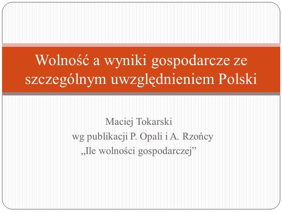 Maciej Tokarski wg publikacji P. Opali i A. Rzońcy Ile wolności gospodarczej Wolność a wyniki gospodarcze ze szczególnym uwzględnieniem Polski