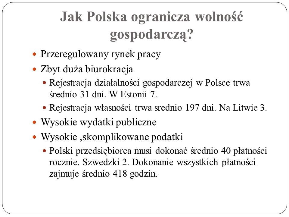 Jak Polska ogranicza wolność gospodarczą? Przeregulowany rynek pracy Zbyt duża biurokracja Rejestracja działalności gospodarczej w Polsce trwa średnio