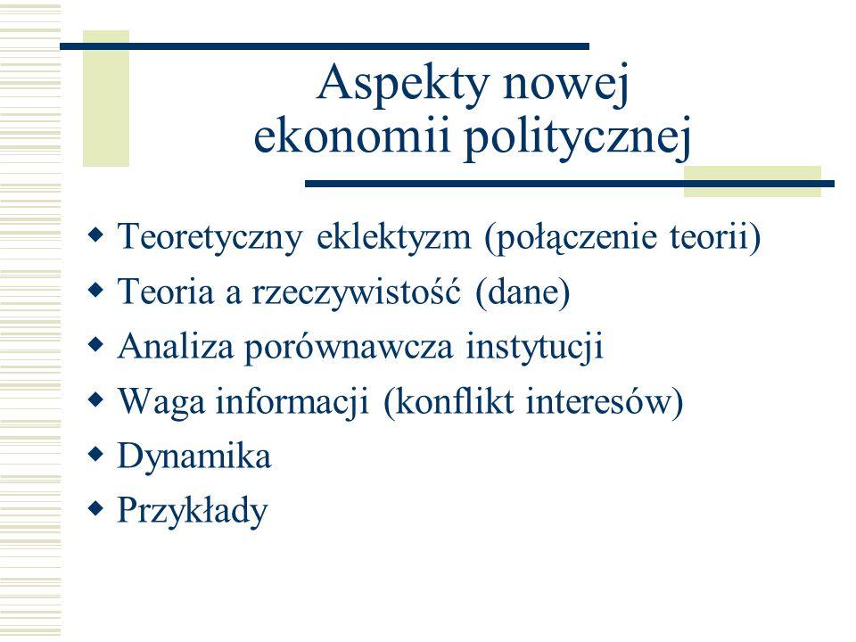 Aspekty nowej ekonomii politycznej Teoretyczny eklektyzm (połączenie teorii) Teoria a rzeczywistość (dane) Analiza porównawcza instytucji Waga informa