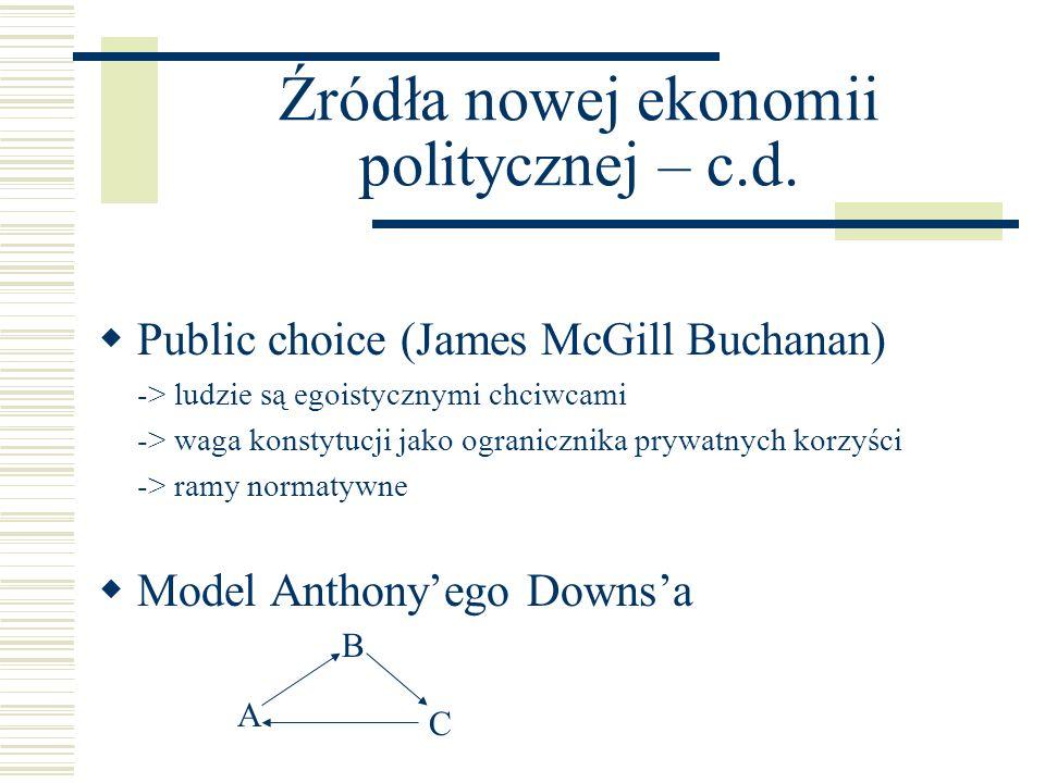 Źródła nowej ekonomii politycznej – c.d. Public choice (James McGill Buchanan) -> ludzie są egoistycznymi chciwcami -> waga konstytucji jako ograniczn
