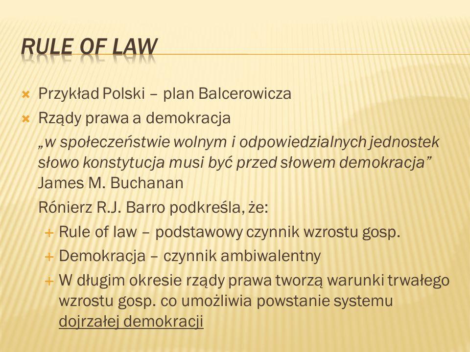 Przykład Polski – plan Balcerowicza Rządy prawa a demokracja w społeczeństwie wolnym i odpowiedzialnych jednostek słowo konstytucja musi być przed sło