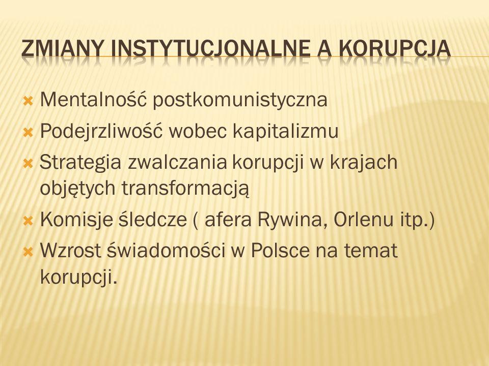 Mentalność postkomunistyczna Podejrzliwość wobec kapitalizmu Strategia zwalczania korupcji w krajach objętych transformacją Komisje śledcze ( afera Ry