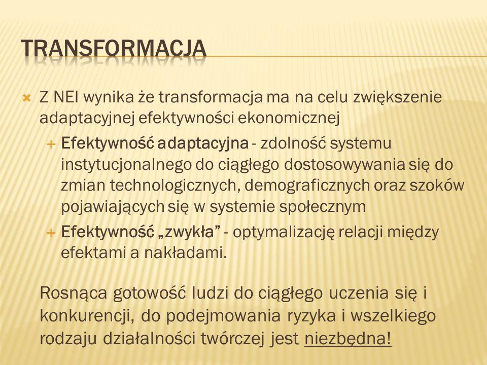 Z NEI wynika że transformacja ma na celu zwiększenie adaptacyjnej efektywności ekonomicznej Efektywność adaptacyjna - zdolność systemu instytucjonalne