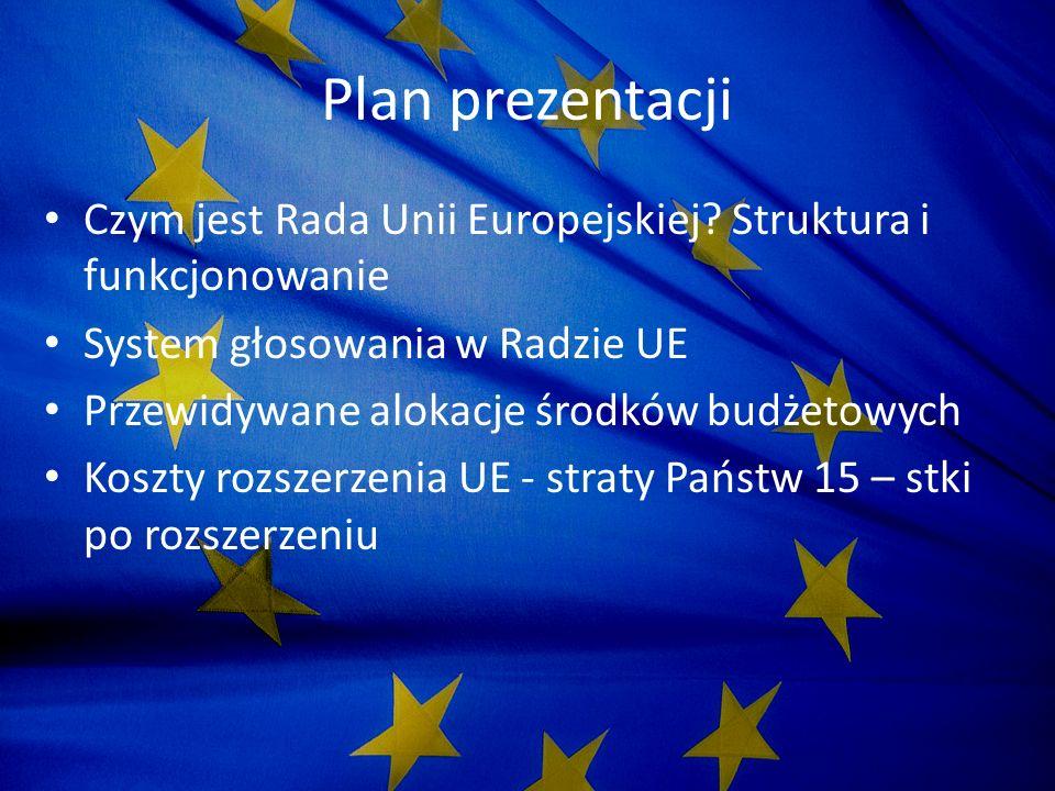 Rada Unii Europejskiej Główny organ ustawodawczy Unii Europejskiej Członkami Rady są reprezentanci krajów członkowskich na szczeblu ministerialnym, skład zmienia się w zależności od dziedzin będących na porządku dnia Przewodniczącym jest minister z danego kraju sprawującego przewodnictwo całej Unii Prace Rady wspiera Sekretariat Generalny oraz inne organy pomocnicze