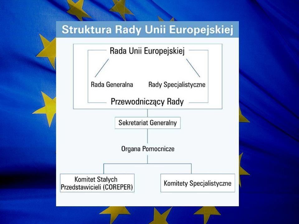 Kompetencje Rady Unii Europejskiej Głównym celem Rady jest koordynowanie ogólnej polityki gospodarczej państw członkowskich Funkcje legislacyjne Prawo do zawierania umów międzynarodowych Prawo do uchwalania budżetu Unii Europejskiej