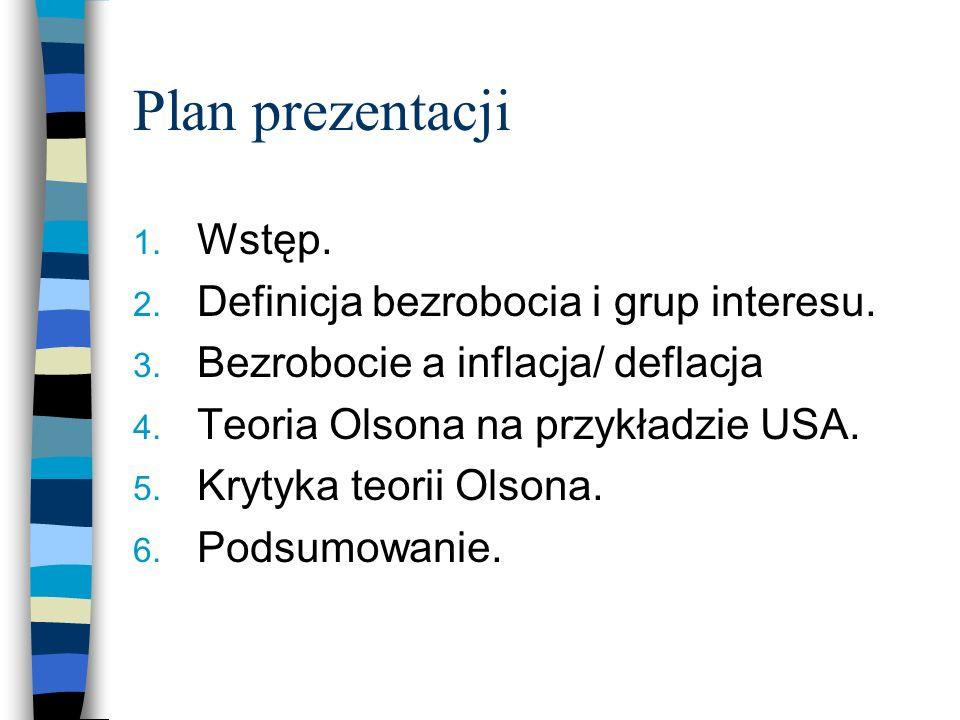 Plan prezentacji 1. Wstęp. 2. Definicja bezrobocia i grup interesu. 3. Bezrobocie a inflacja/ deflacja 4. Teoria Olsona na przykładzie USA. 5. Krytyka