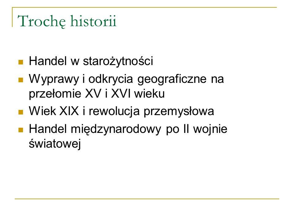 Trochę historii Handel w starożytności Wyprawy i odkrycia geograficzne na przełomie XV i XVI wieku Wiek XIX i rewolucja przemysłowa Handel międzynarod