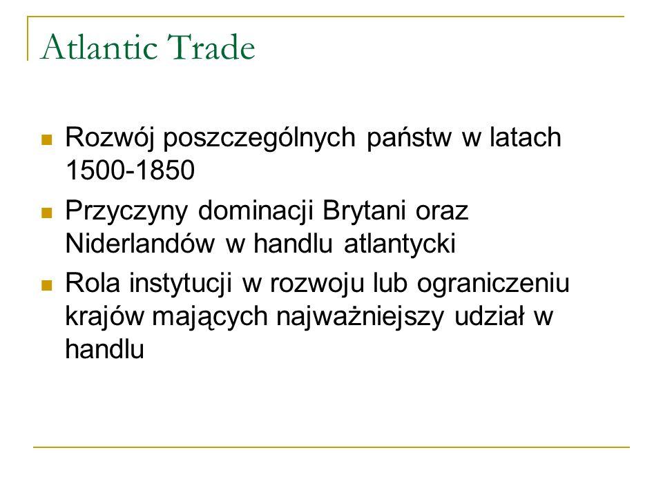 Atlantic Trade Rozwój poszczególnych państw w latach 1500-1850 Przyczyny dominacji Brytani oraz Niderlandów w handlu atlantycki Rola instytucji w rozw