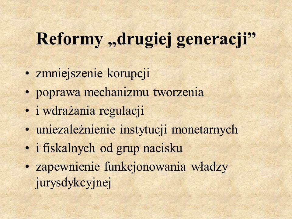 Reformy drugiej generacji zmniejszenie korupcji poprawa mechanizmu tworzenia i wdrażania regulacji uniezależnienie instytucji monetarnych i fiskalnych