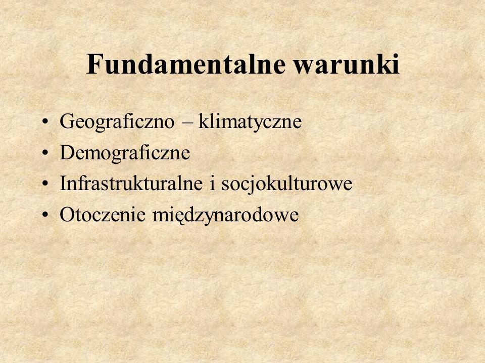 Fundamentalne warunki Geograficzno – klimatyczne Demograficzne Infrastrukturalne i socjokulturowe Otoczenie międzynarodowe