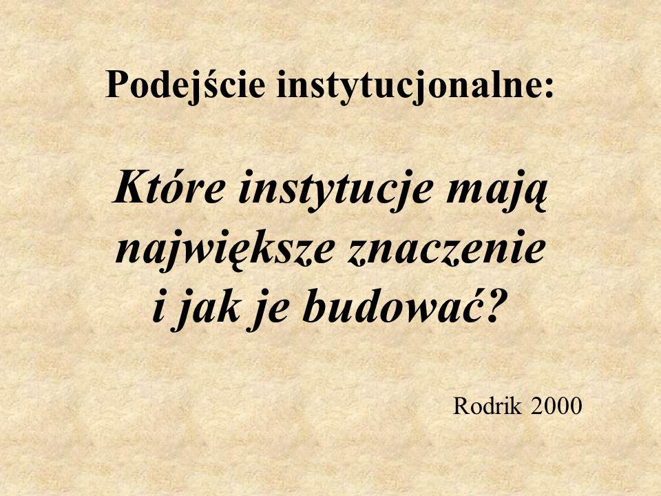 Podejście instytucjonalne: Które instytucje mają największe znaczenie i jak je budować? Rodrik 2000