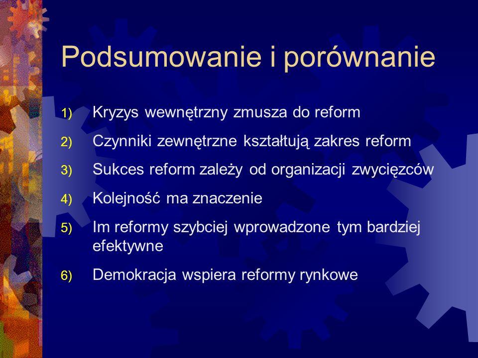 Podsumowanie i porównanie 1) Kryzys wewnętrzny zmusza do reform 2) Czynniki zewnętrzne kształtują zakres reform 3) Sukces reform zależy od organizacji