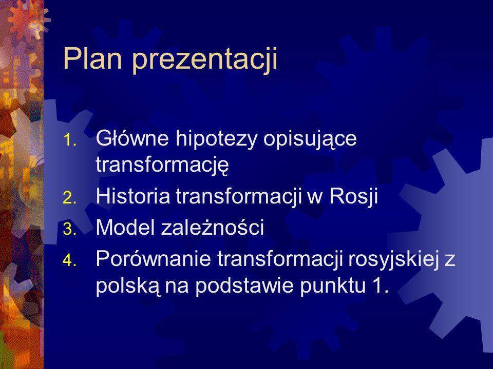 Plan prezentacji 1. Główne hipotezy opisujące transformację 2. Historia transformacji w Rosji 3. Model zależności 4. Porównanie transformacji rosyjski