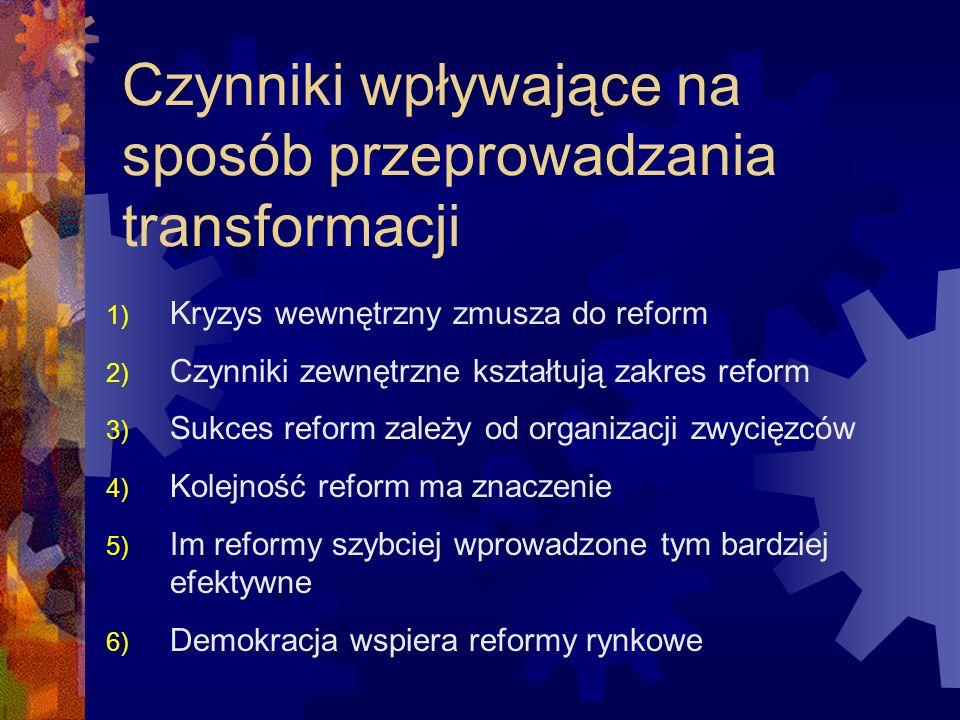 Czynniki wpływające na sposób przeprowadzania transformacji 1) Kryzys wewnętrzny zmusza do reform 2) Czynniki zewnętrzne kształtują zakres reform 3) S