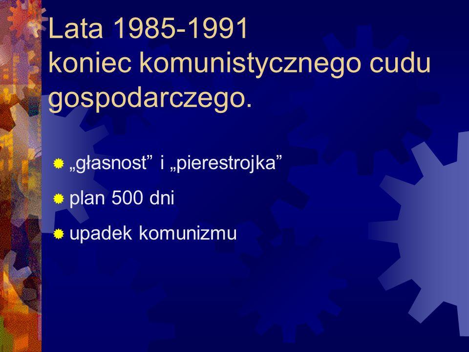 Lata 1985-1991 koniec komunistycznego cudu gospodarczego. głasnost i pierestrojka plan 500 dni upadek komunizmu