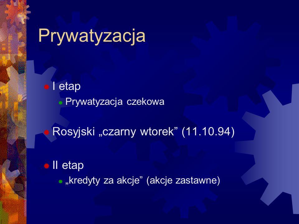 Prywatyzacja I etap Prywatyzacja czekowa Rosyjski czarny wtorek (11.10.94) II etap kredyty za akcje (akcje zastawne)