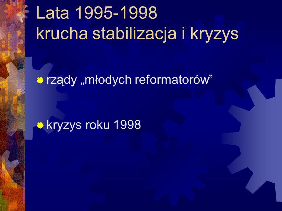Lata 1995-1998 krucha stabilizacja i kryzys rządy młodych reformatorów kryzys roku 1998